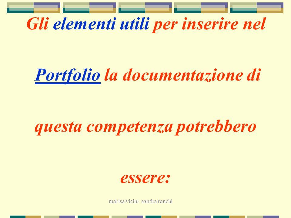 Gli elementi utili per inserire nel Portfolio la documentazione di