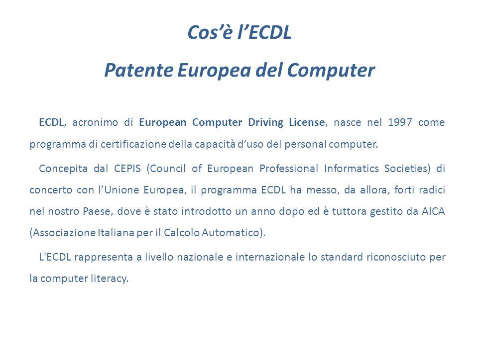 Cos'è l'ECDL Patente Europea del Computer