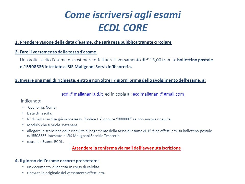 Come iscriversi agli esami ECDL CORE