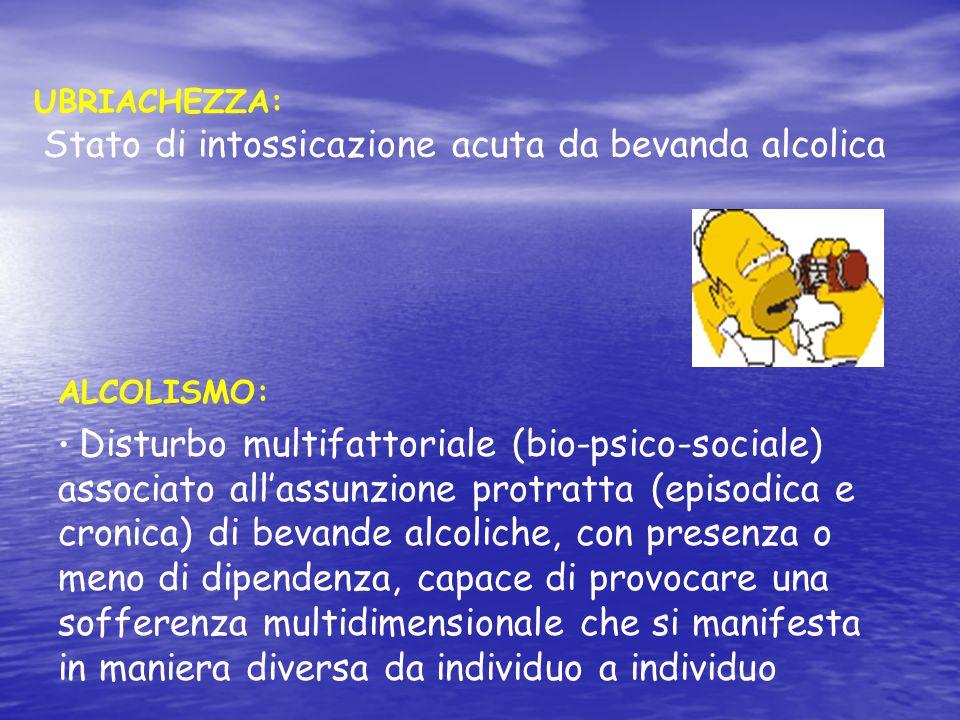 UBRIACHEZZA: Stato di intossicazione acuta da bevanda alcolica