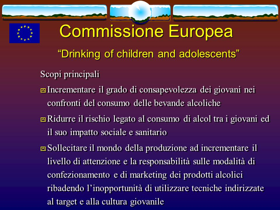 Commissione Europea Drinking of children and adolescents