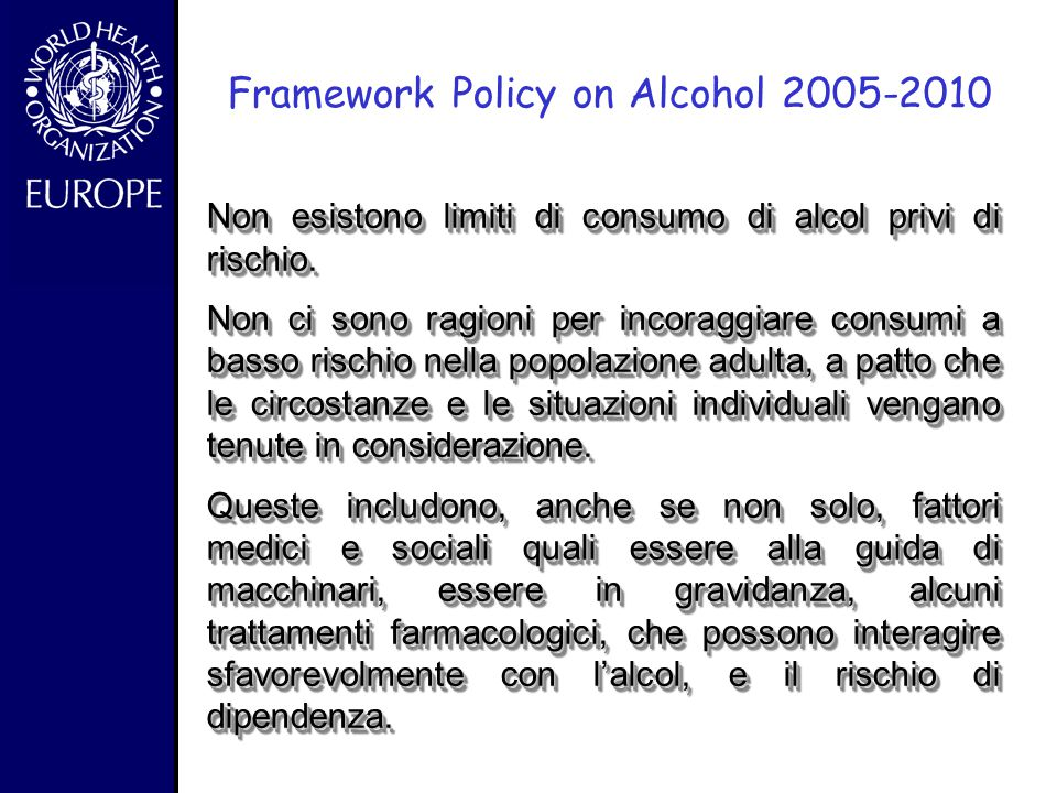 Framework Policy on Alcohol 2005-2010