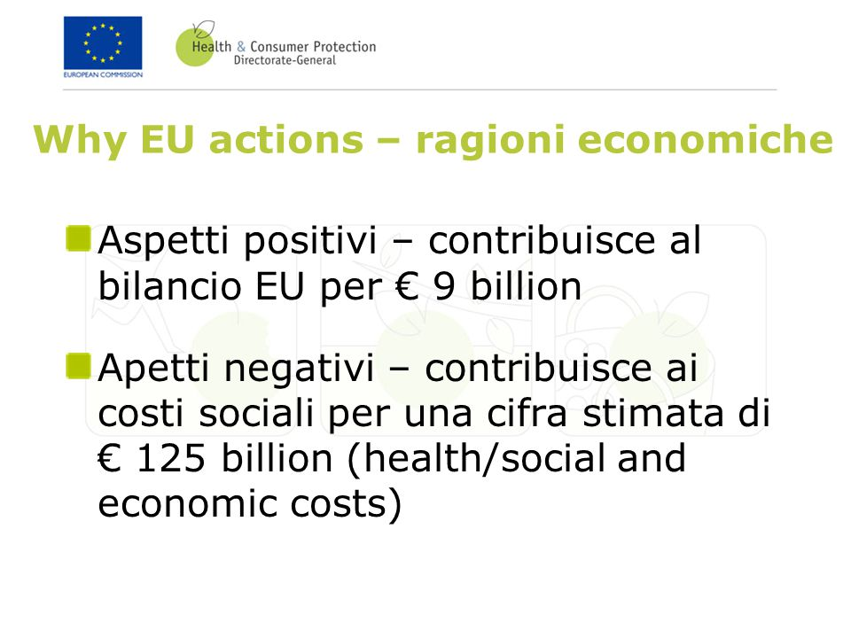 Why EU actions – ragioni economiche