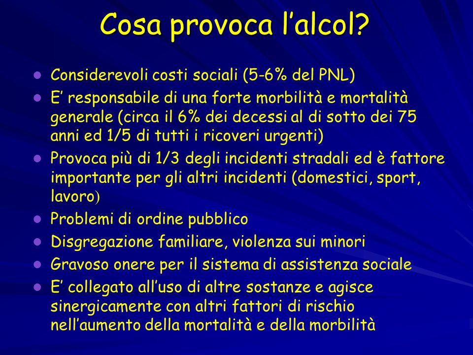 Cosa provoca l'alcol Considerevoli costi sociali (5-6% del PNL)