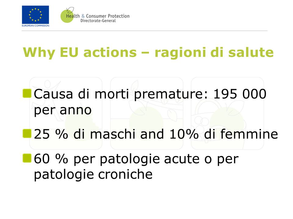 Why EU actions – ragioni di salute