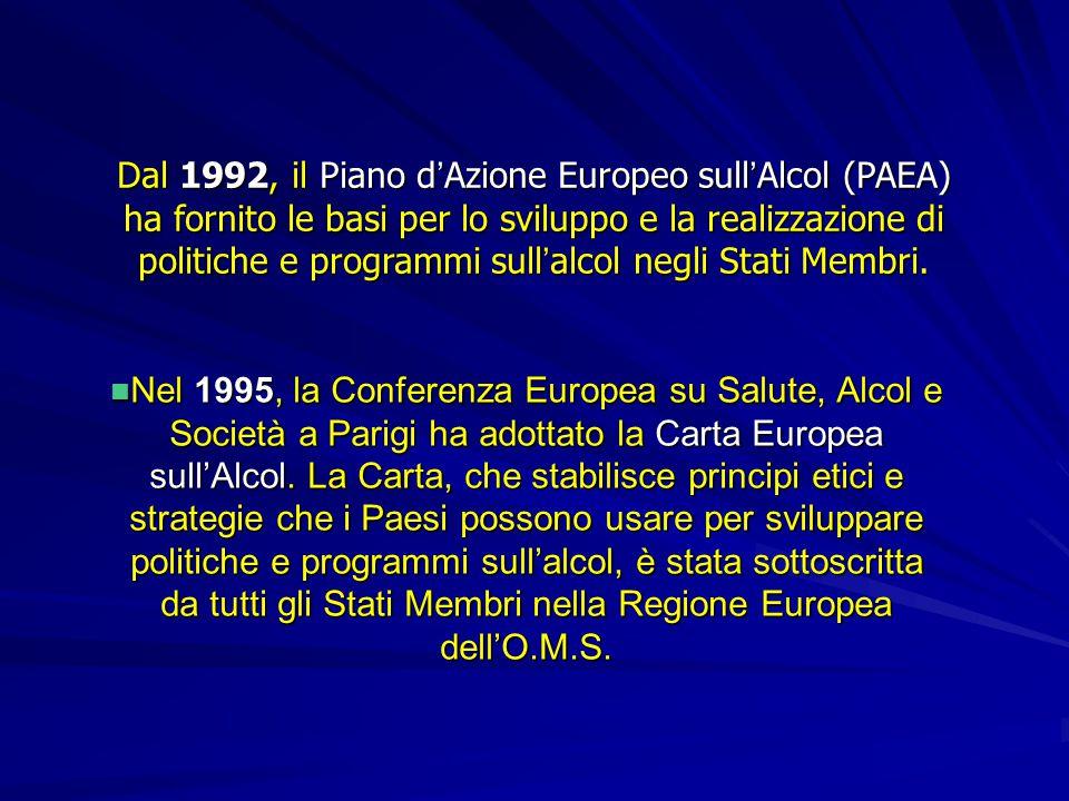 Dal 1992, il Piano d'Azione Europeo sull'Alcol (PAEA) ha fornito le basi per lo sviluppo e la realizzazione di politiche e programmi sull'alcol negli Stati Membri.