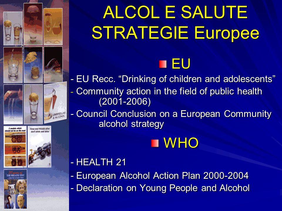 ALCOL E SALUTE STRATEGIE Europee