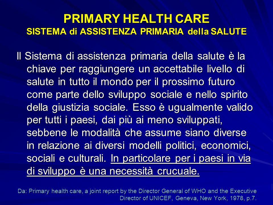 PRIMARY HEALTH CARE SISTEMA di ASSISTENZA PRIMARIA della SALUTE