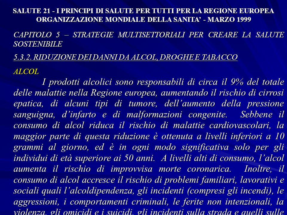 SALUTE 21 - I PRINCIPI DI SALUTE PER TUTTI PER LA REGIONE EUROPEA