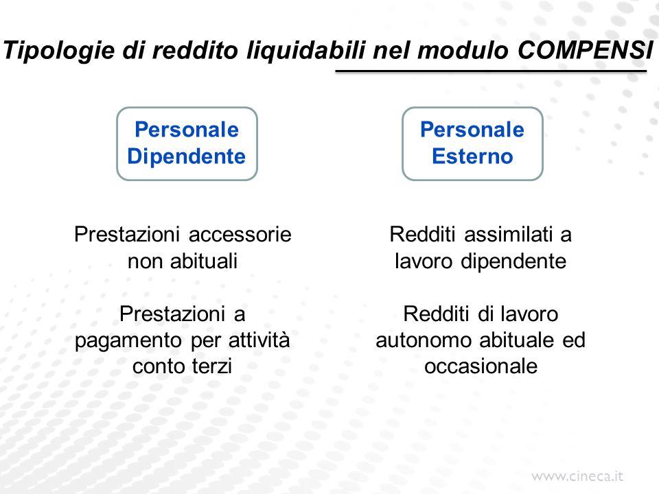 Tipologie di reddito liquidabili nel modulo COMPENSI