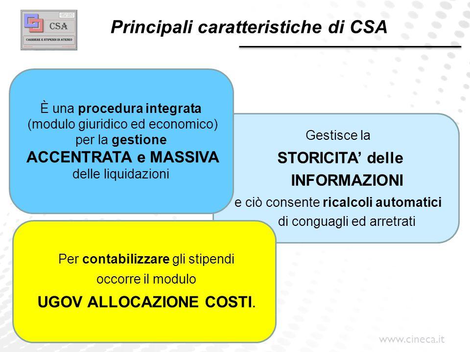 Principali caratteristiche di CSA