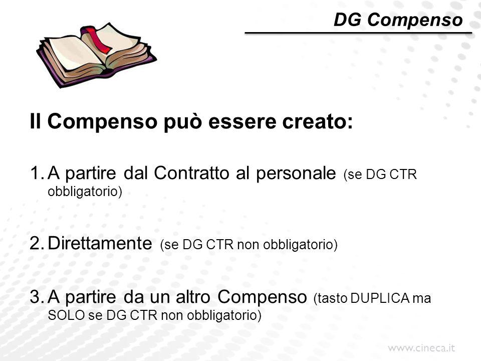 Il Compenso può essere creato: