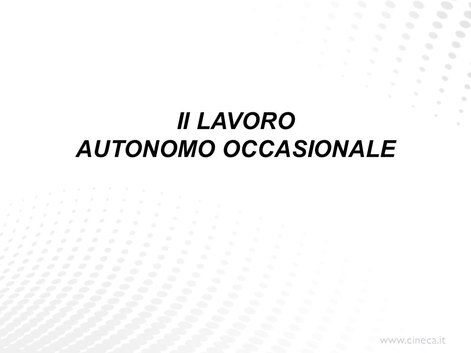 Il LAVORO AUTONOMO OCCASIONALE