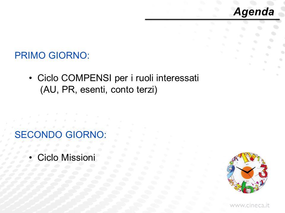 Agenda PRIMO GIORNO: Ciclo COMPENSI per i ruoli interessati