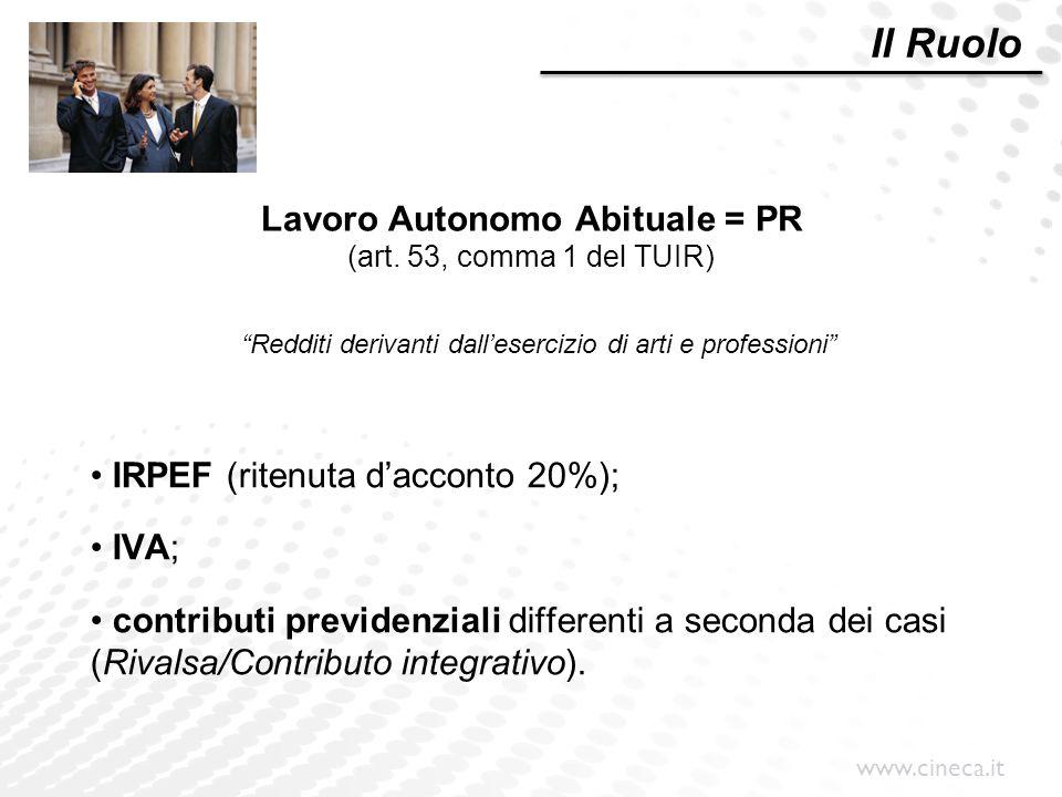 Lavoro Autonomo Abituale = PR (art. 53, comma 1 del TUIR)