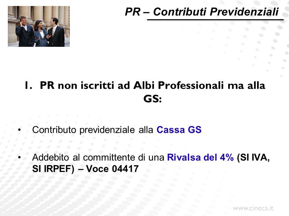 PR non iscritti ad Albi Professionali ma alla GS: