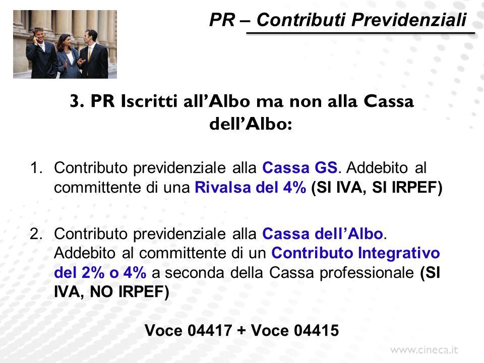 3. PR Iscritti all'Albo ma non alla Cassa dell'Albo: