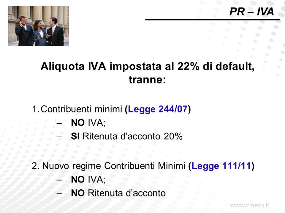 Aliquota IVA impostata al 22% di default, tranne: