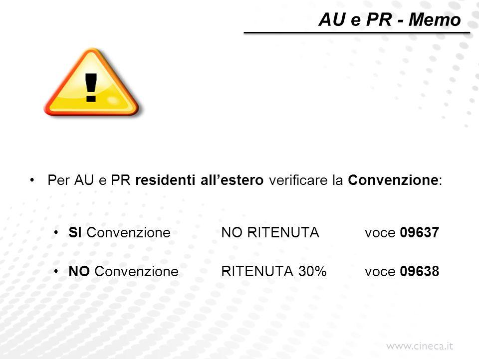 AU e PR - Memo Per AU e PR residenti all'estero verificare la Convenzione: SI Convenzione NO RITENUTA voce 09637.