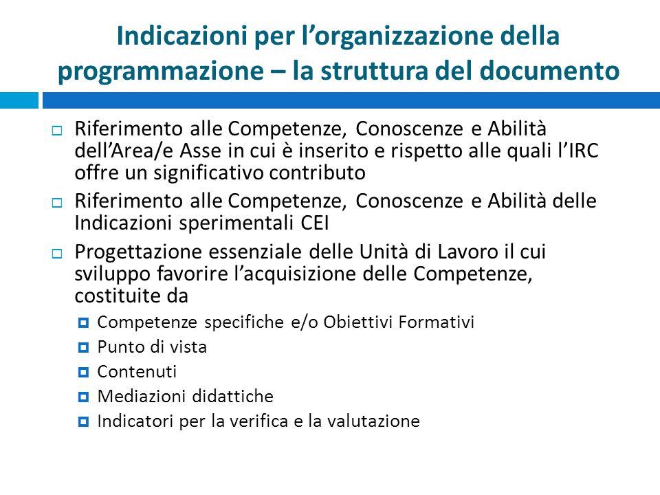 Indicazioni per l'organizzazione della programmazione – la struttura del documento