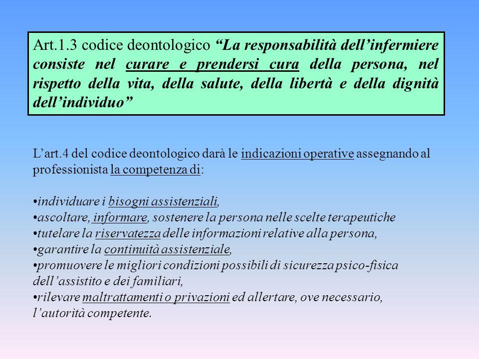 Art.1.3 codice deontologico La responsabilità dell'infermiere consiste nel curare e prendersi cura della persona, nel rispetto della vita, della salute, della libertà e della dignità dell'individuo