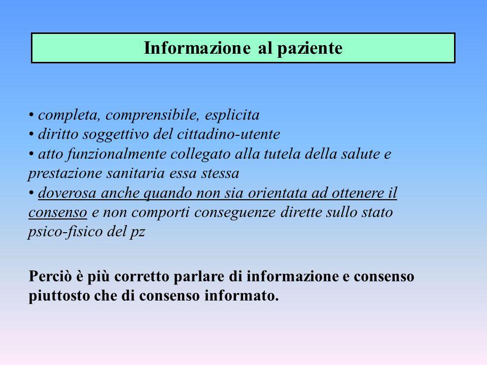 Informazione al paziente