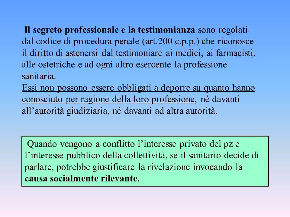 Il segreto professionale e la testimonianza sono regolati dal codice di procedura penale (art.200 c.p.p.) che riconosce il diritto di astenersi dal testimoniare ai medici, ai farmacisti, alle ostetriche e ad ogni altro esercente la professione sanitaria.