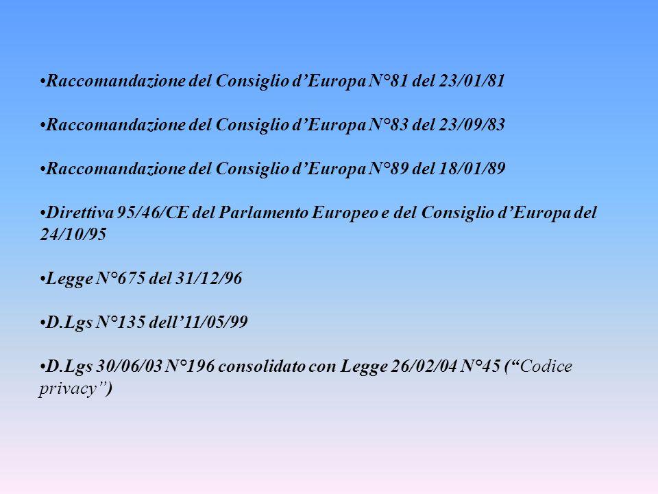 Raccomandazione del Consiglio d'Europa N°81 del 23/01/81