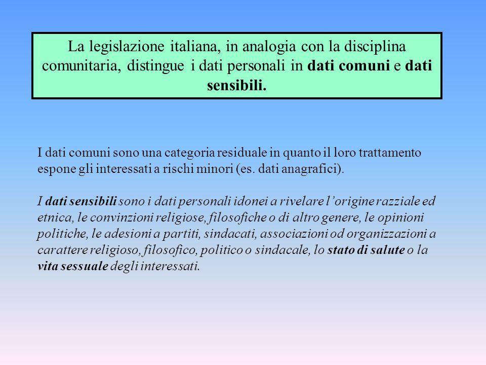 La legislazione italiana, in analogia con la disciplina comunitaria, distingue i dati personali in dati comuni e dati sensibili.