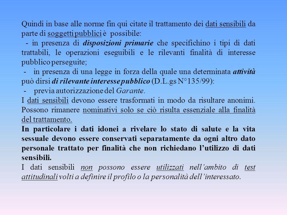 Quindi in base alle norme fin qui citate il trattamento dei dati sensibili da parte di soggetti pubblici è possibile: