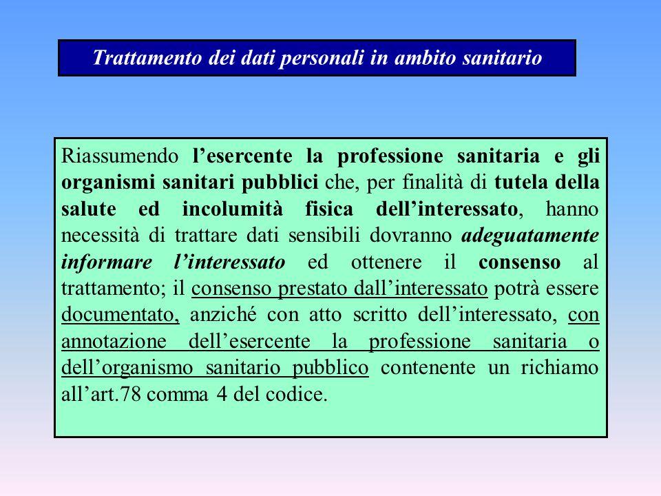 Trattamento dei dati personali in ambito sanitario