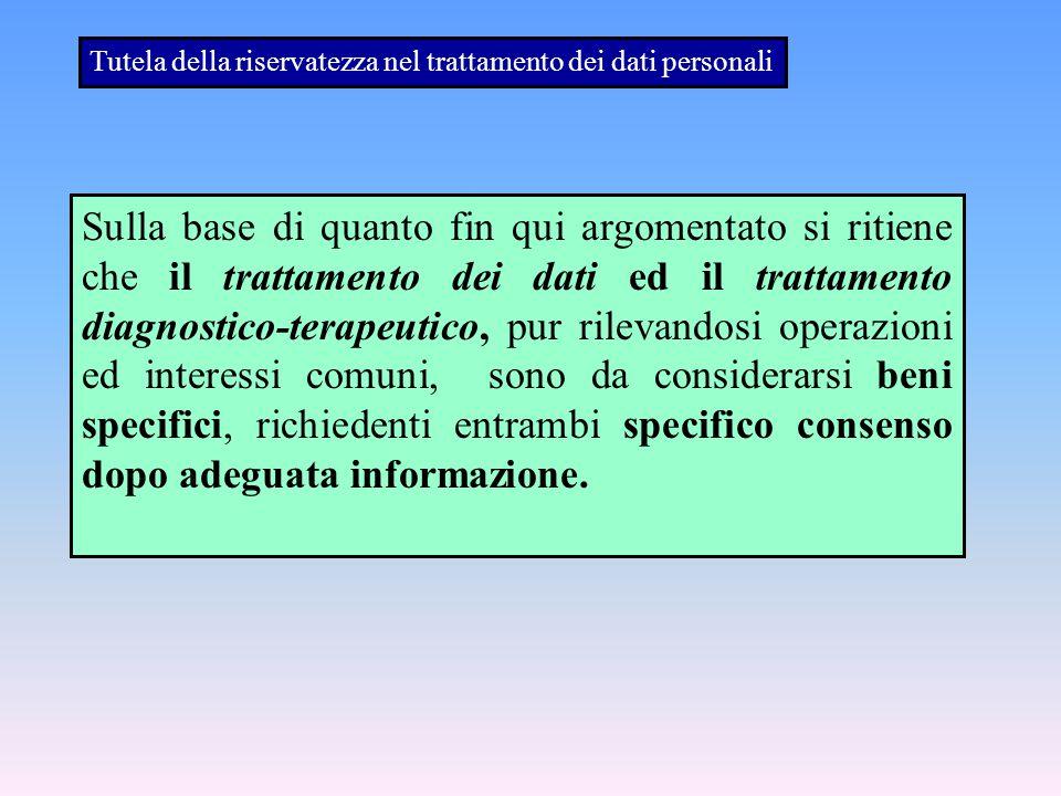 Tutela della riservatezza nel trattamento dei dati personali
