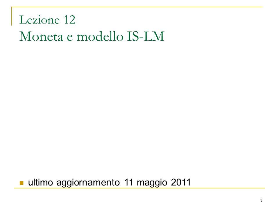 Lezione 12 Moneta e modello IS-LM