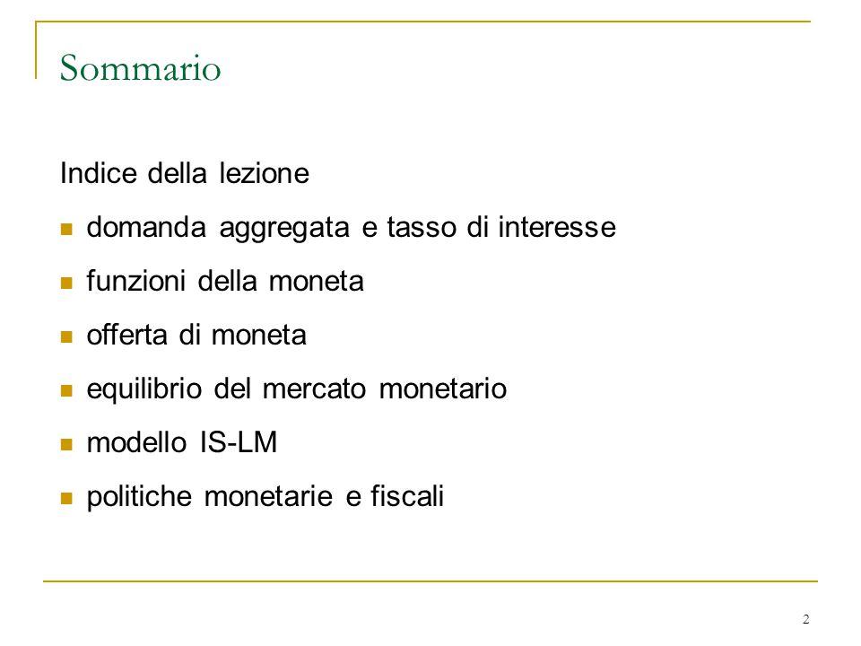 Sommario Indice della lezione domanda aggregata e tasso di interesse