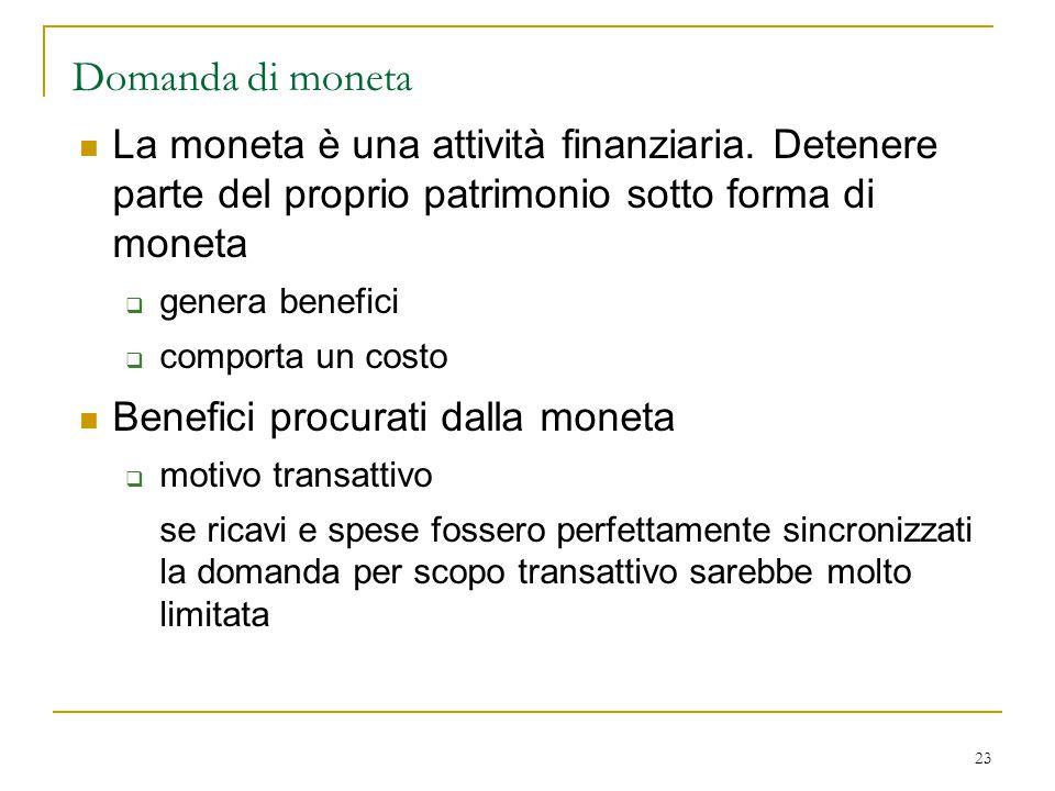 Domanda di moneta La moneta è una attività finanziaria. Detenere parte del proprio patrimonio sotto forma di moneta.