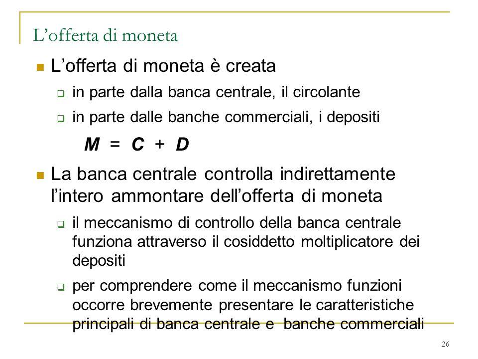 L'offerta di moneta L'offerta di moneta è creata M = C + D