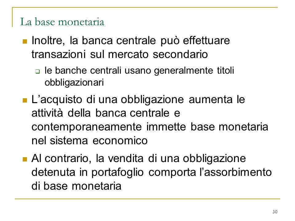 La base monetaria Inoltre, la banca centrale può effettuare transazioni sul mercato secondario.