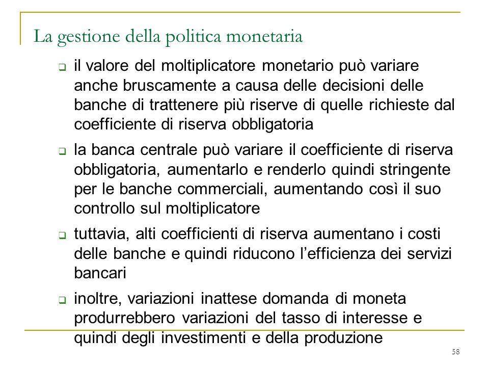 La gestione della politica monetaria