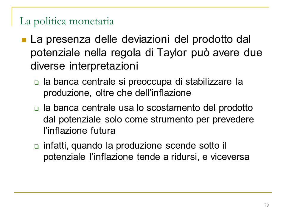 La politica monetaria La presenza delle deviazioni del prodotto dal potenziale nella regola di Taylor può avere due diverse interpretazioni.