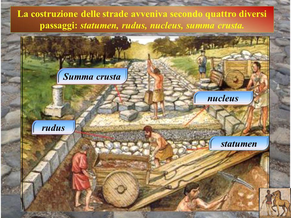La costruzione delle strade avveniva secondo quattro diversi passaggi: statumen, rudus, nucleus, summa crusta.
