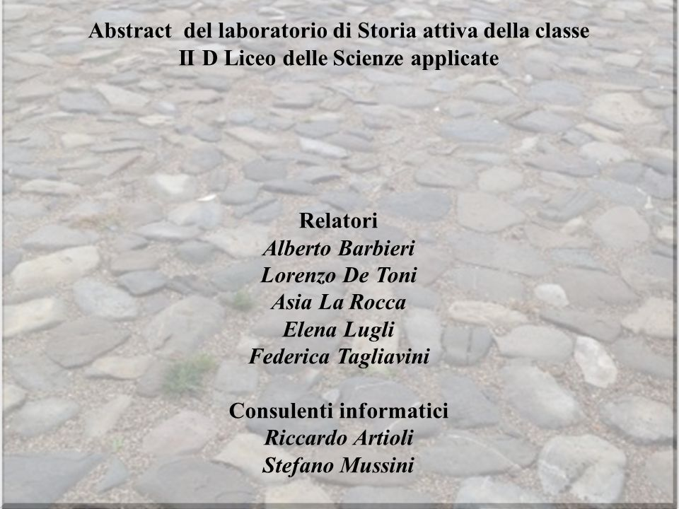 Abstract del laboratorio di Storia attiva della classe