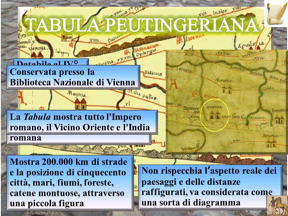 TABULA PEUTINGERIANA Databile al IV° secolo d.C.