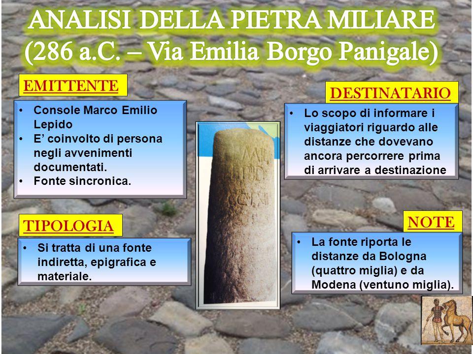 ANALISI DELLA PIETRA MILIARE (286 a.C. – Via Emilia Borgo Panigale)