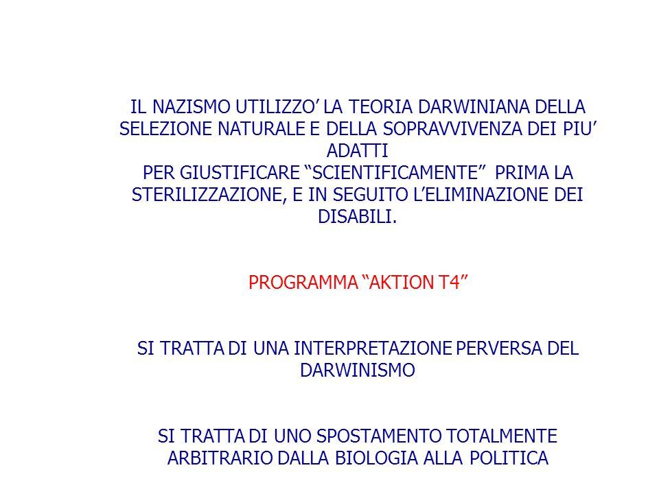 SI TRATTA DI UNA INTERPRETAZIONE PERVERSA DEL DARWINISMO