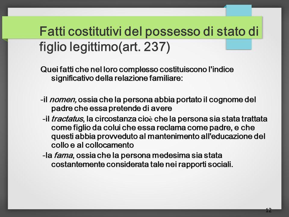 Fatti costitutivi del possesso di stato di figlio legittimo(art. 237)