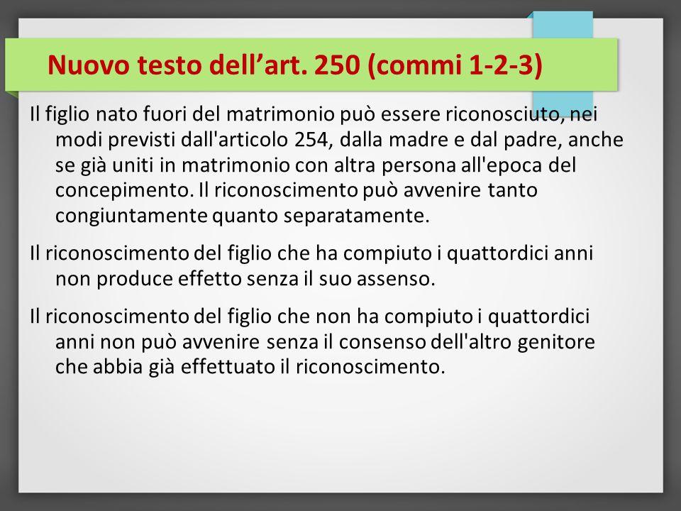 Nuovo testo dell'art. 250 (commi 1-2-3)