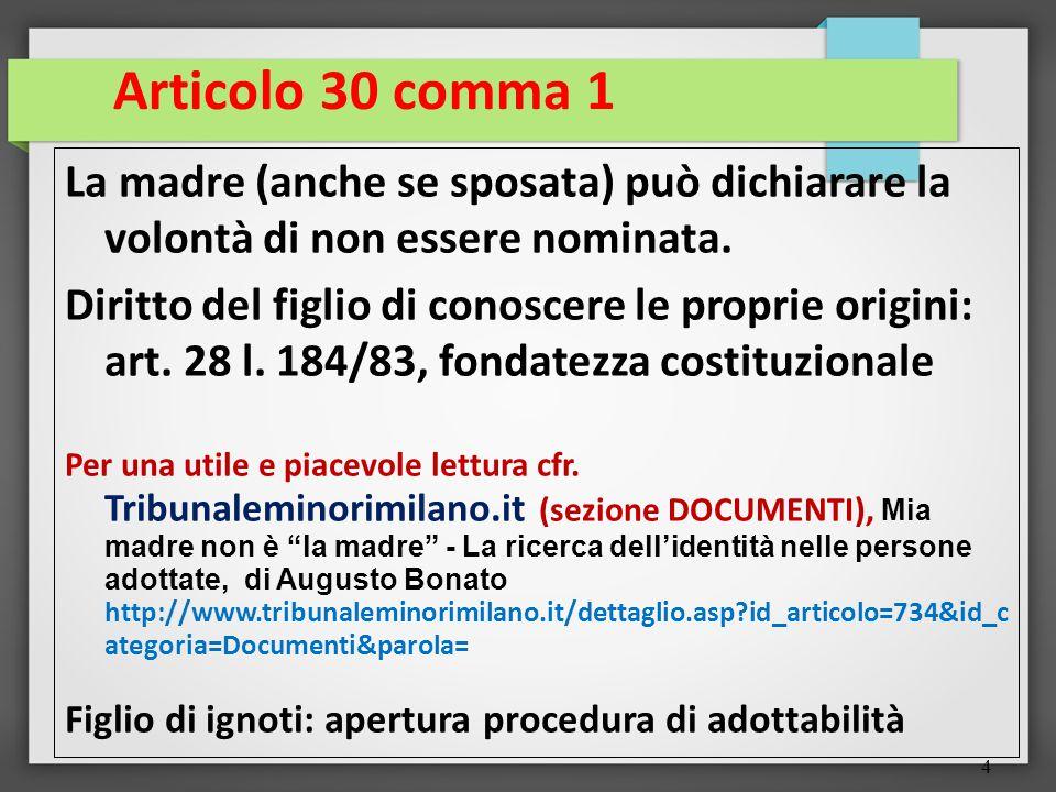 Articolo 30 comma 1 La madre (anche se sposata) può dichiarare la volontà di non essere nominata.