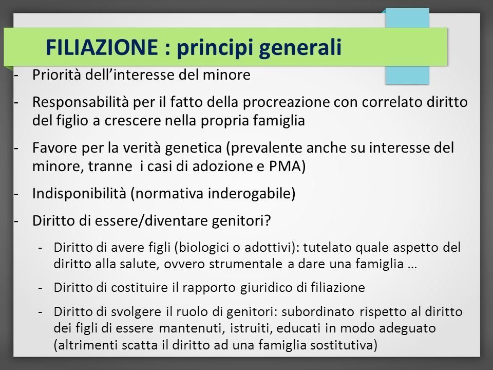 FILIAZIONE : principi generali