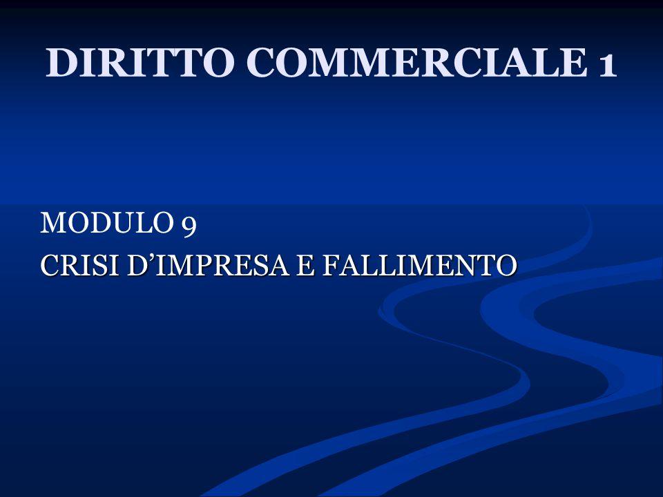 DIRITTO COMMERCIALE 1 MODULO 9 CRISI D'IMPRESA E FALLIMENTO