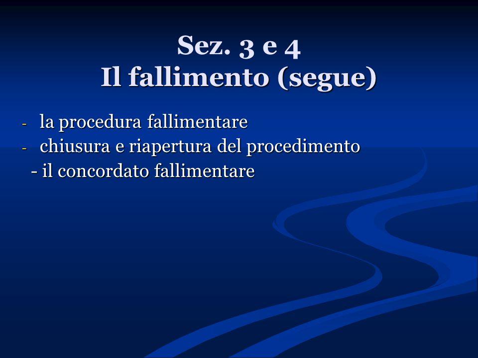 Sez. 3 e 4 Il fallimento (segue)